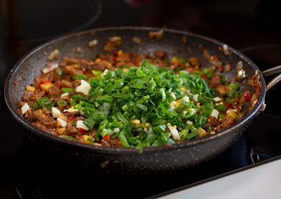 Relleno con cebolla de verdeo